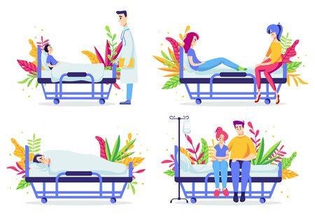 Set of sick people in hospital with doctor