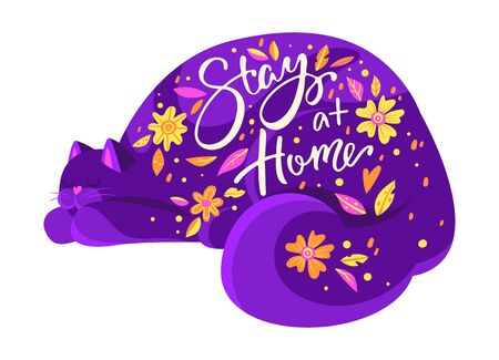 Purple cat and lettering stay at home 向量圖像