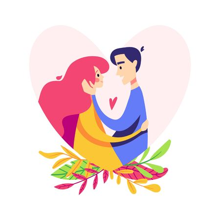 Couple in the heart silhouette. Man and woman hug. Flat illustration isolated on white background 向量圖像