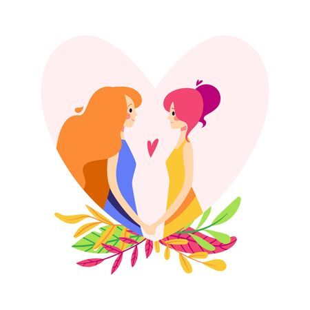 Same-sex couple in the heart silhouette. Girls hold hands 向量圖像