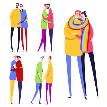 Set of gay couples. Collection of LGBT.