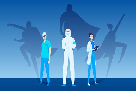 Doctors stand in front view. Superheros shadows on the wall behind.