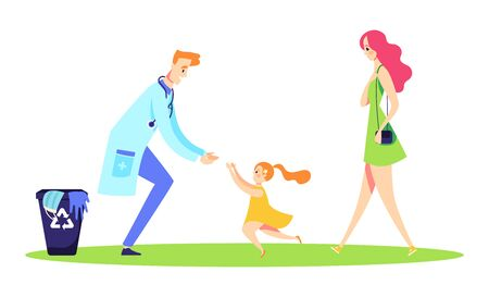 Doctor reutines with family after pademic. Girl runs to her father. Medical glove and mask are in bin Illustration