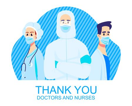 Thank you doctors and nurses. Frontliners, illustration of characters wearing masks