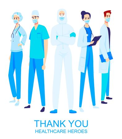 Thank you healthcare heroes working in the hospitals and fighting the coronavirus outbreak. Frontliners, illustration of doctors and nurses characters wearing masks Illustration