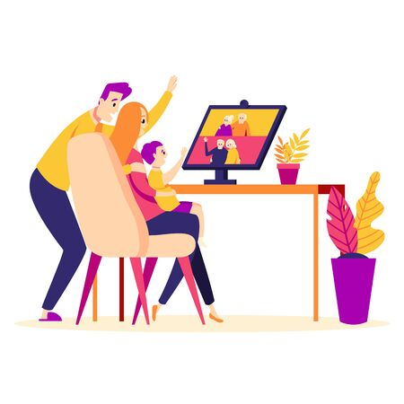 Family talk by video conference with elderly couples: grandfathers and grandmothers. Parents and baby online via video chat at home.