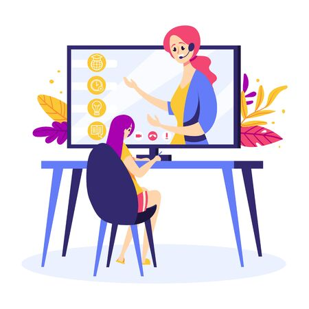 Girl is watching online course. Woman teacher on the computer screen. Home schooling, online education Illustration