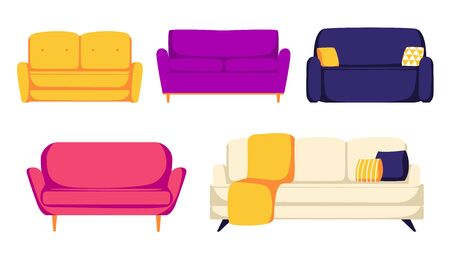 Set of different colors and types sofas with pillows. Cozy couches with pads Illustration