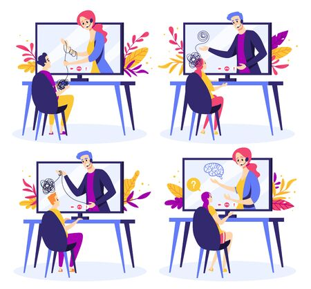 Set of psychologists help people unravel mental disorder treatment. Psychologist online service, private counseling. Psychology. Vector illustration in cartoon style. Isolated on white background Illustration