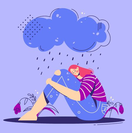 Unhappy, sad depressed young woman hugs legs under rainy cloud. Teenage girl are sitting under rain. Depression concept.