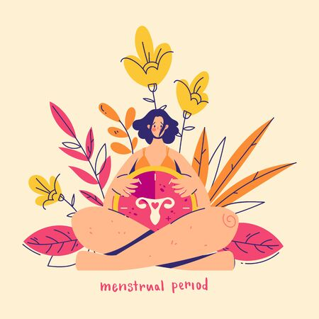 Menstruation concept. Woman holds clock with female genital organs silhouette. Sign menstrual period.