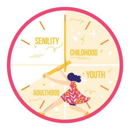 Fear of age. Woman is trying to stop time. Not enough time concept. Girl holds clock hands. Illustration