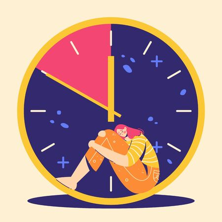 Fear of deadline. Woman in depression. Not enought time concept. Teenage girl are sitting in clock.