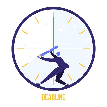 Fear of deadline. Worker is trying to stop time. Not enought time concept. Deadline sign.