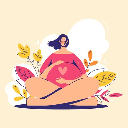 Pregnancy concept. Pregnant woman holds her belly with heart on it. Modern flat style illustration