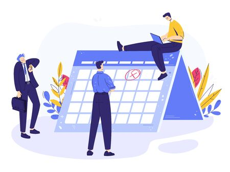 Concept deadline. Business team notes important day. Small character looks on the calendar with mark. Businessman looks at wrist watch. Man works at laptop