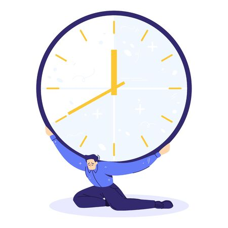 Sad character holds a heavy huge clock. Time pushs on human. Deadline concept.