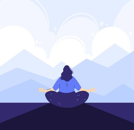 Yoga girl in the front of mountains background. Outdoor meditation concept. Lotus pose - padmasana. Woman relax and chill.