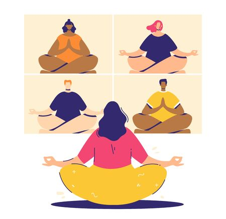 Online meditation concept. Videoconference participants in lotus pose - padmasana. People relax and chill.