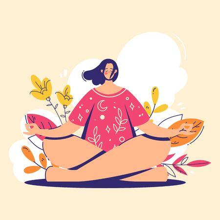 Yoga girl. Meditation concept. Lotus pose - padmasana. Woman relax and chill. Illustration