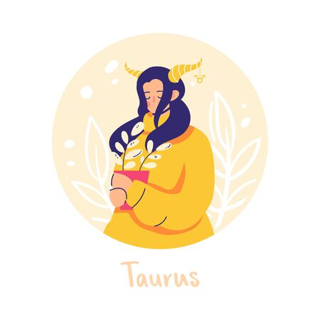 Taurus zodiac sign. Earth. Female character and element of ancient astrology. 向量圖像