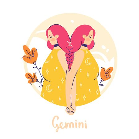 Gimini zodiac sign. Air. Female character and element of ancient astrology.