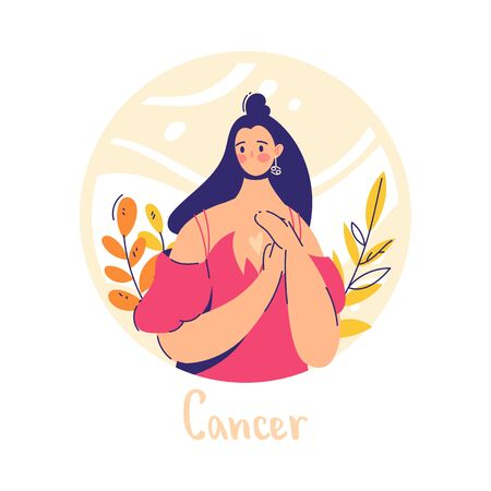 Cancer zodiac sign. Water. Female character and element of ancient astrology.