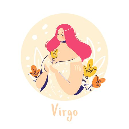 Virgo zodiac sign. Earth. Female character and element of ancient astrology.