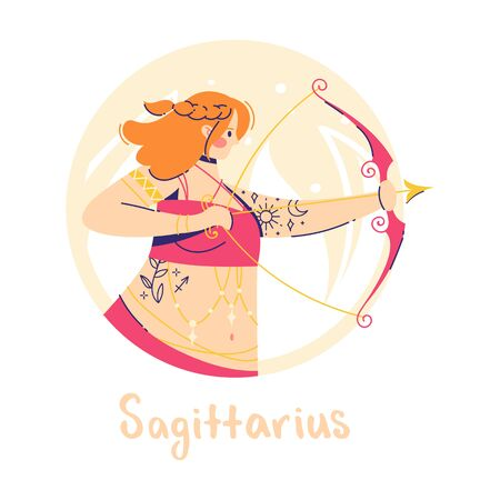Sagittarius zodiac sign. Fire. Female character and element of ancient astrology 向量圖像
