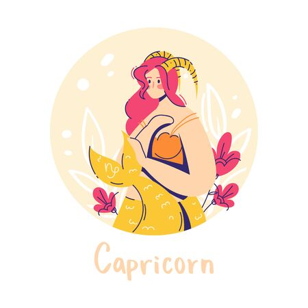 Capricorn zodiac sign. Earth. Female character and element of ancient astrology. 向量圖像