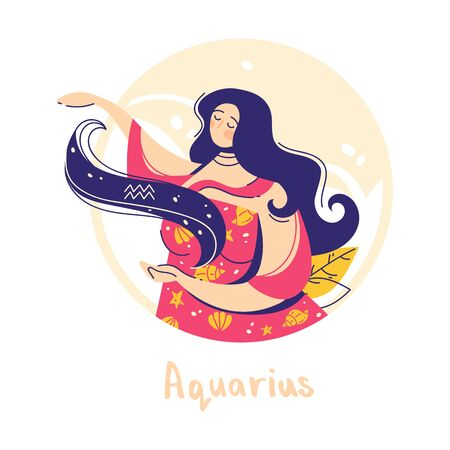 Aquarius zodiac sign. Air. Female character and element of ancient astrology.