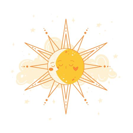 Moon and sun in round frame. Astrology concept
