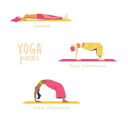 Set of yoga poses. Female characters practice yoga. Yoga concept. yoga poses sign. Modern flat style vector illustration isolated on white background.