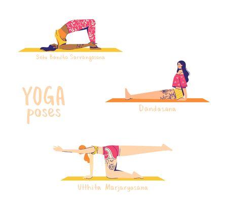 Set of yoga poses. Female characters practice yoga. Yoga concept. 'yoga poses' sign. Modern flat style vector illustration isolated on white background.