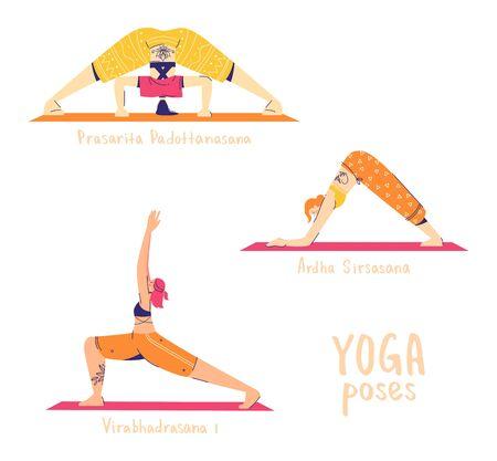 Set of yoga poses. Female characters practice yoga. Yoga concept. yoga poses sign. Modern flat style vector illustration isolated on white background.