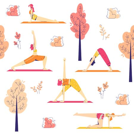 Female characters practice yoga in the park. Outdoor yoga concept. Seamless pattern. Modern flat style vector illustration isolated on white background