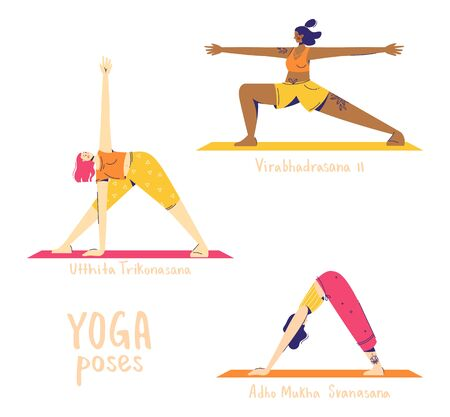 Set of yoga poses. Female characters practice yoga. Yoga concept. yoga poses sign. Downward facing dog, triangle and warrior pose.