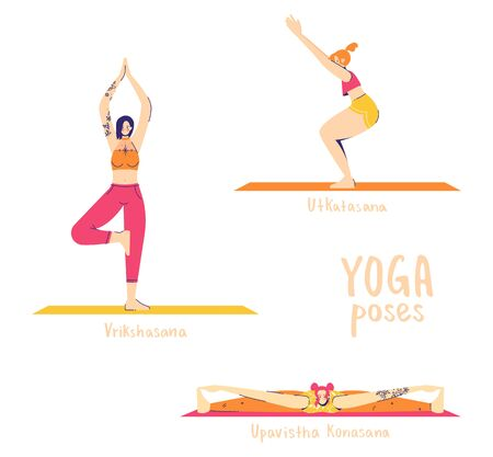 Set of yoga poses. Female characters practice yoga. Yoga concept. yoga poses sign. Wide-angle seated, tree and chair pose. Illustration