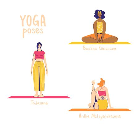 Set of yoga poses. Female characters practice yoga. Yoga concept. yoga poses sign. Half lord of the fishes, bound angle and mountain. Ilustrace