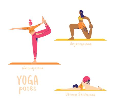 Set of yoga poses. Female characters practice yoga. Yoga concept. yoga poses sign. Dance, lunge and puppy pose.