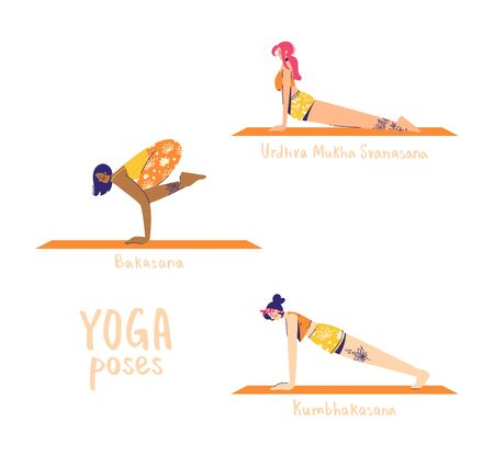 Set of yoga poses. Female characters practice yoga. Yoga concept. yoga poses sign. Upward facing dog, crow and plank pose. 向量圖像