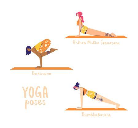 Set of yoga poses. Female characters practice yoga. Yoga concept. yoga poses sign. Upward facing dog, crow and plank pose. Illustration