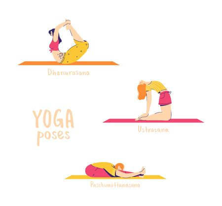 Set of yoga poses. Female characters practice yoga. Yoga concept. yoga poses sign. Modern flat style vector illustration isolated on white background. 16-18 of 30