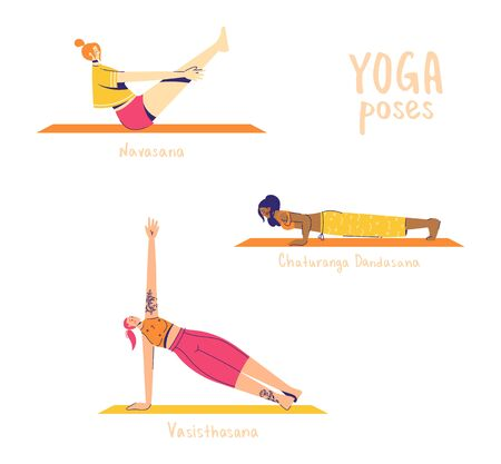 Set of yoga poses. Female characters practice yoga. Yoga concept. yoga poses sign. Bow, side plank and boat pose.