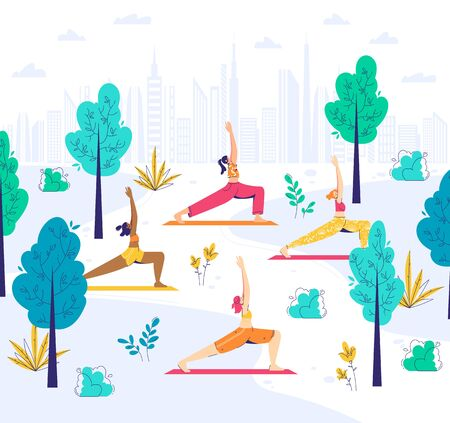 Female characters practice warrior pose in the park. Virabhadrasana. Outdoor yoga concept.