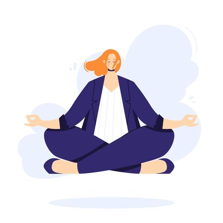 Businesswoman is doing yoga in the lotus pose to calm down after stressful day and hard work in office. Female character over floor.