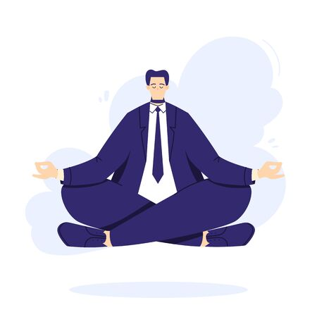 Businessman is doing yoga in the lotus pose to calm down after stressful day and hard work in office. Male character over floor.