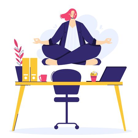 Businesswoman is doing yoga in the lotus pose to calm down after stressful day and hard work. Female character over workplace in office.