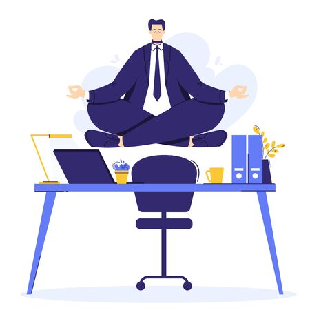 Businessman is doing yoga in the lotus pose to calm down after stressful day and hard work. Male character over workplace in office. Illustration