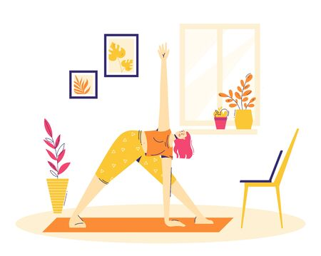 Home workout. Girl is practicing online yoga in the triangle pose.